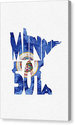 Minnesota Typographic Map Flag Canvas Print