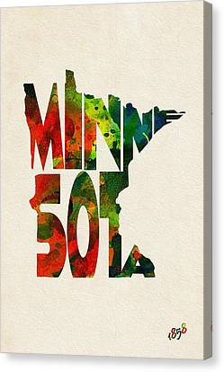 Minnesota Typographic Watercolor Map Canvas Print by Ayse Deniz