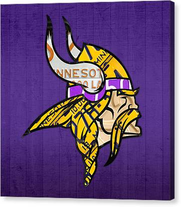 Minnesota Vikings Football Team Retro Logo Minnesota License Plate Art Canvas Print