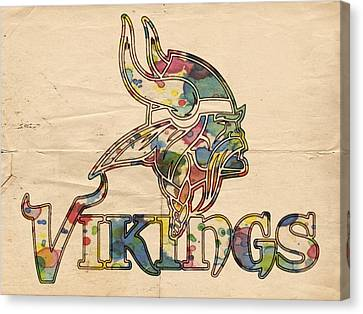 Minnesota Vikings Logo Art Canvas Print by Florian Rodarte