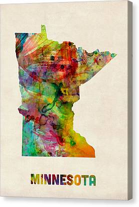 Minnesota Watercolor Map Canvas Print by Michael Tompsett