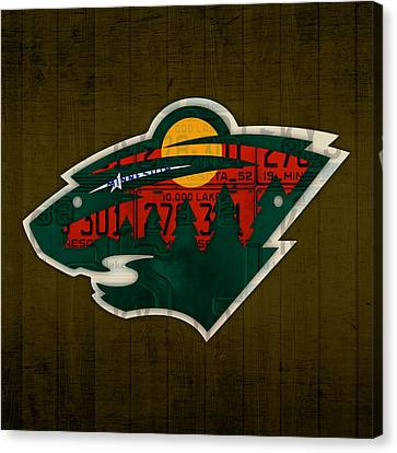 Minnesota Wild Retro Hockey Team Logo Recycled Land Of 10000 Lakes License Plate Art Canvas Print