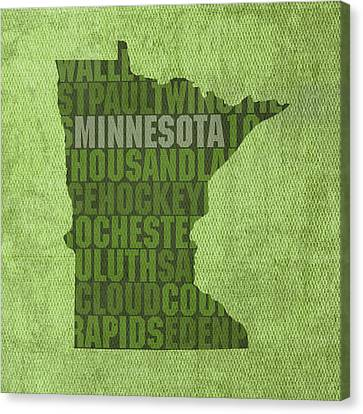Minnesota Word Art State Map On Canvas Canvas Print by Design Turnpike