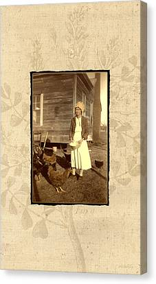 Canvas Print featuring the photograph Minnie's Chickens by Ron Crabb