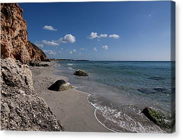 Binigaus Beach In South Coast Of Minorca With A Turquoise Crystalline Water - Paradise In Blue Canvas Print by Pedro Cardona