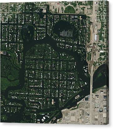 Minot Flooding, Usa, Satellite Image Canvas Print by Science Photo Library