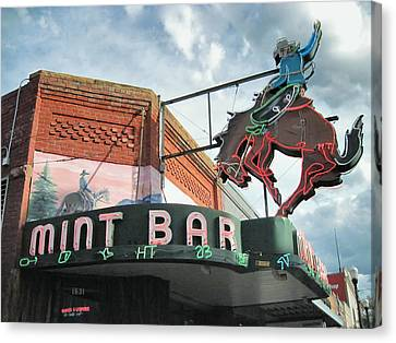Canvas Print featuring the photograph Mint Bar Sheridan Wyoming by Mary Lee Dereske