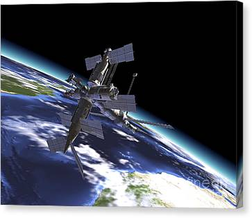 Mir Russian Space Station In Orbit Canvas Print
