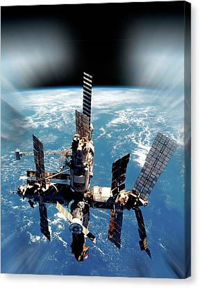 Mir Space Station In Orbit Canvas Print