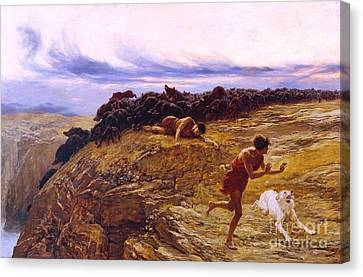 Miracle Of The Gaderene Swine Canvas Print by Pg Reproductions