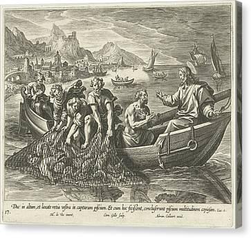 Miraculous Fishing, Cornelis Galle I, Adriaen Collaert Canvas Print by Cornelis Galle (i) And Adriaen Collaert