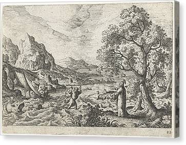 Miraculous Fishing, Hans Bol, Anonymous Canvas Print