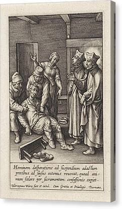 Miraculous Healing By Ignatius Loyola Of A Man Who Hanged Canvas Print by Hieronymus Wierix