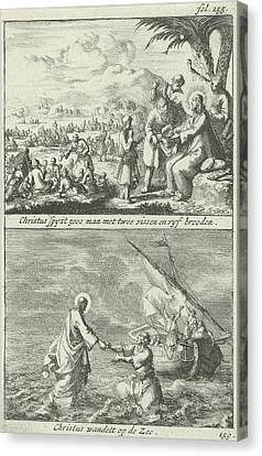 Miraculous Multiplication Of Loaves And Fishes By Christ Canvas Print by Jan Luyken And Jan Claesz Ten Hoorn