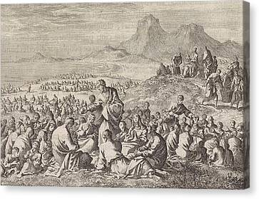 Miraculous Multiplication Of The Seven Loaves And The Two Canvas Print by Jan Luyken And Pieter Mortier