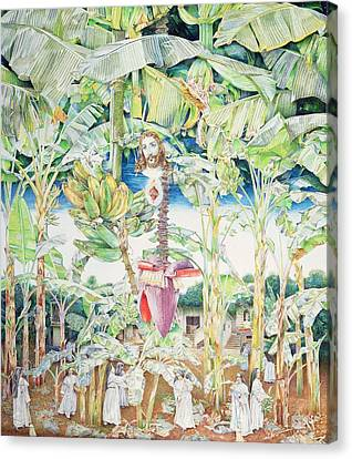Presence Canvas Print - Miraculous Vision Of Christ In The Banana Grove, 1989 Oil On Canvas by James Reeve