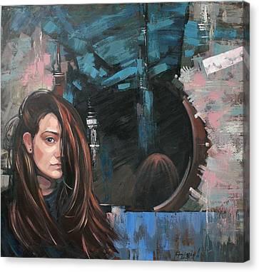 Canvas Print featuring the painting Mirror by Anastasija Kraineva