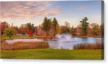 Uconn Canvas Print - Mirror Lake Uconn Sunset by Steve Pfaffle