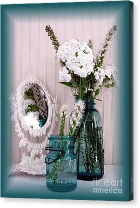 Mirrored Bouquet 1 Canvas Print by Margaret Newcomb