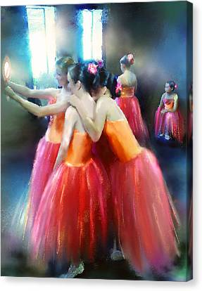 Mirrored Coral Dancers In Light Canvas Print