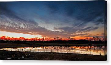 Tn Barn Canvas Print - Mirrored Sunset  by Brett Engle
