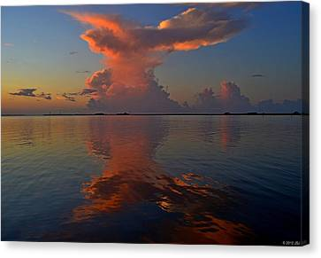 Mirrored Thunderstorm Over Navarre Beach At Sunrise On Sound Canvas Print