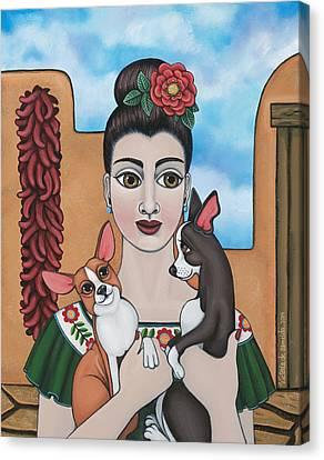 Dog Lovers Canvas Print - Mis Carinos by Victoria De Almeida