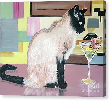 Miss Kitty And Her Treat Canvas Print by Phyllis Kaltenbach