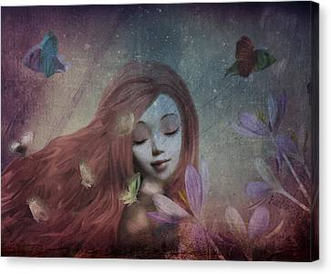 Canvas Print featuring the digital art Miss Little Crocus by Barbara Orenya