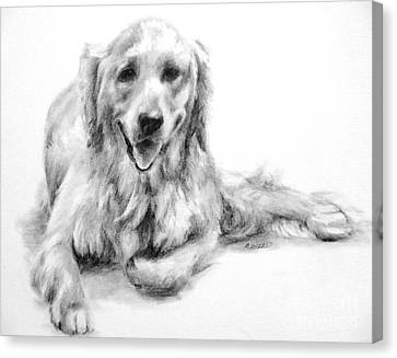 Canvas Print featuring the drawing Miss Maddie  by Meagan  Visser