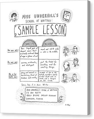 Corrected Canvas Print - Miss Underhill's School Of Writing Sample Lesson by Roz Chast