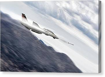 Missile Lock F-14 Canvas Print by Peter Chilelli