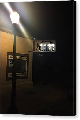 Mission Cafe  San Juan Bautista Nights Canvas Print by Linda Roberts