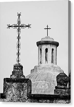 Canvas Print featuring the photograph Mission Concepcion Crosses by Andy Crawford