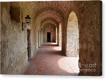Mission Concepcion Promenade Walkway In San Antonio Missions National Historical Park Texas Canvas Print