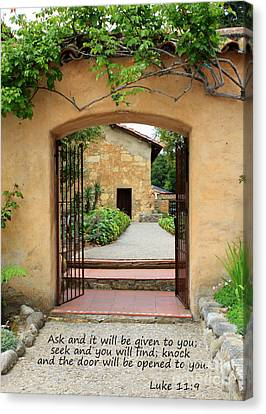 Mission Door With Scripture Canvas Print by Carol Groenen