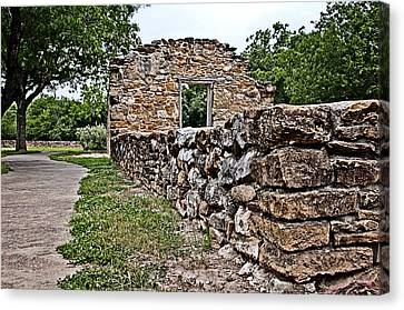 Canvas Print featuring the photograph Mission Espada Ruins by Andy Crawford