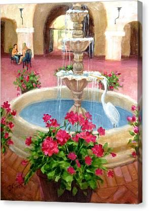 Mission Inn Fountain Canvas Print by Janet McGrath