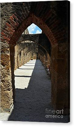 Mission San Jose Arched Promenade Walkway In San Antonio Missions National Historical Park Vertical Canvas Print by Shawn O'Brien