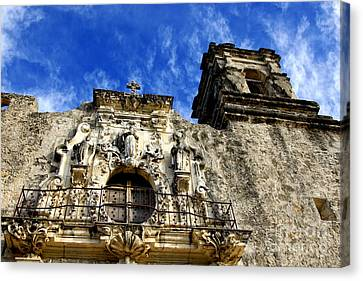 Canvas Print featuring the photograph Mission San Jose Balcony And Tower by Lincoln Rogers