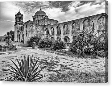 Mission San Jose Black And White San Antonio Texas Canvas Print