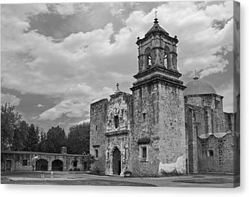 Canvas Print featuring the photograph Mission San Jose Bw by Jemmy Archer