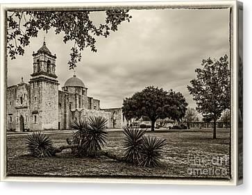 Mission San Jose In Vintage Yellowed Tint - San Antonio Missions Texas Canvas Print