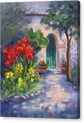 Mission San Juan Bautista Cana Lilies  Canvas Print by Karin  Leonard