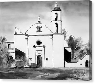 Mission San Luis Rey Bw Blue Canvas Print by Kip DeVore