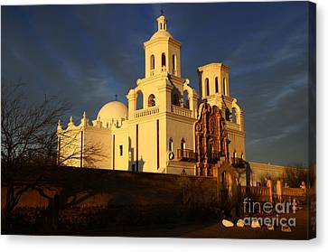 Mission San Xavier Del Bac Last Light Canvas Print by Bob Christopher