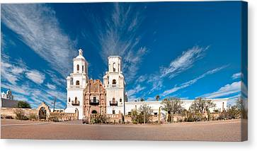 Canvas Print featuring the photograph Mission San Xavier Del Bac Panorama by Dan McManus