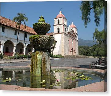 Mission Santa Barbara And Fountain Canvas Print by Christiane Schulze Art And Photography