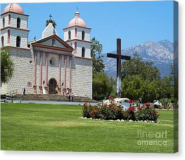 Mission Santa Barbara Canvas Print by Methune Hively