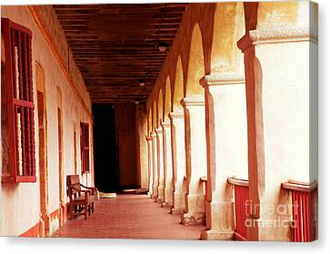 Canvas Print featuring the photograph Mission Walkway by Vinnie Oakes